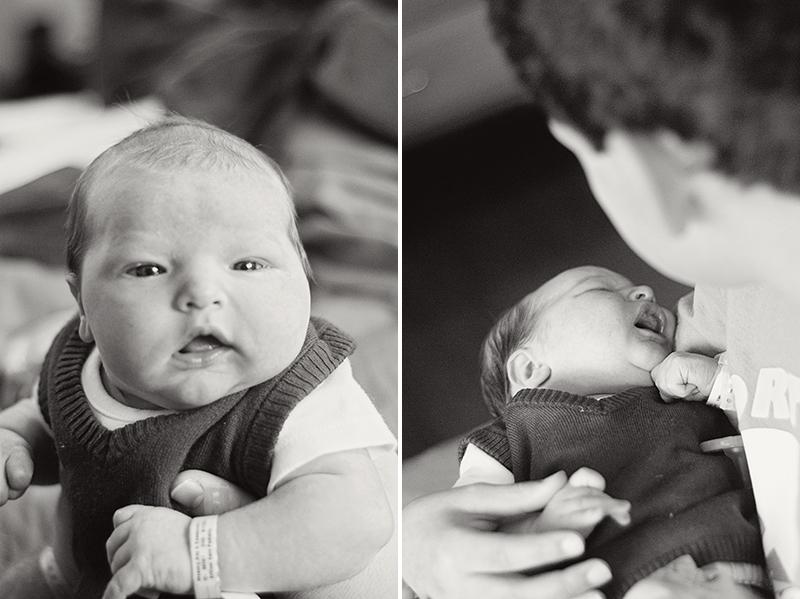 black and white newborn portrait