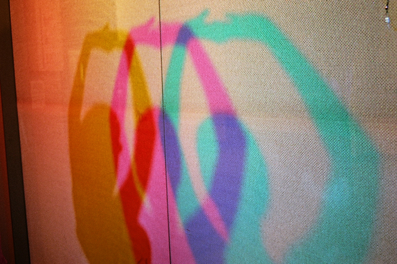 colored shadows on wall