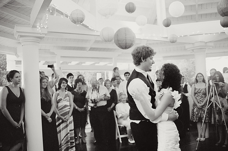 romantic first dance in black and white