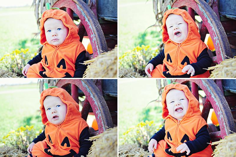 baby in a pumpkin costume