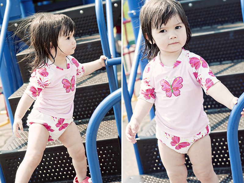 cute girl playing on playground