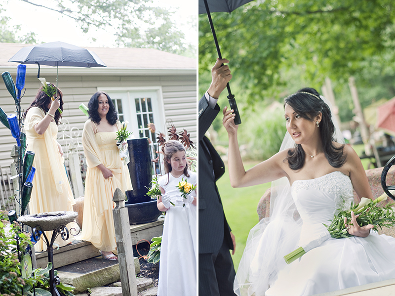 bride and bridesmaids with umbrellas