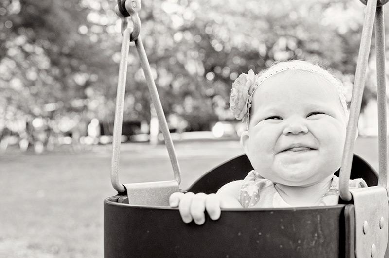 cute baby in a swing