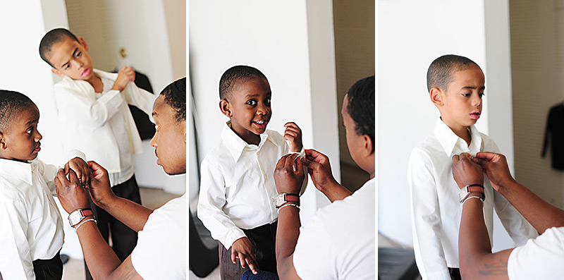 groom getting his sons ready