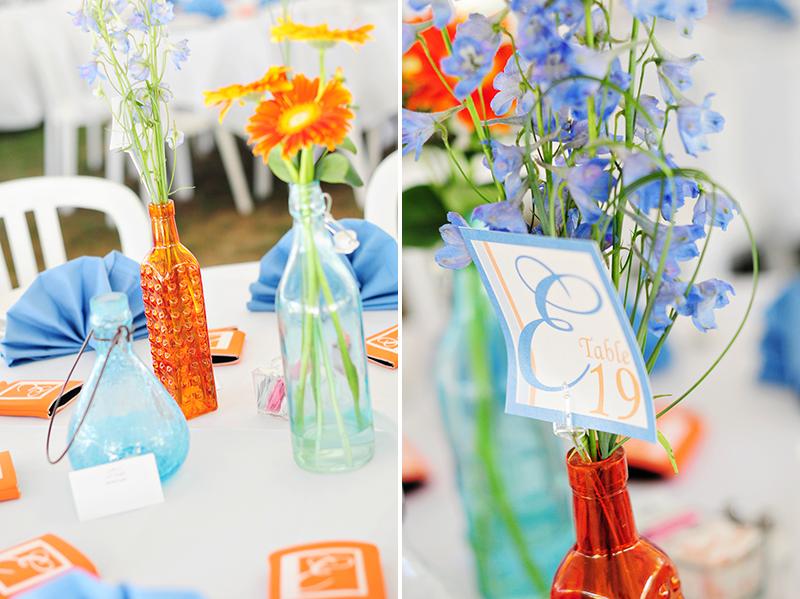 blue and orange wedding decor