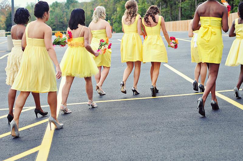 yellow bridesmaids dresses