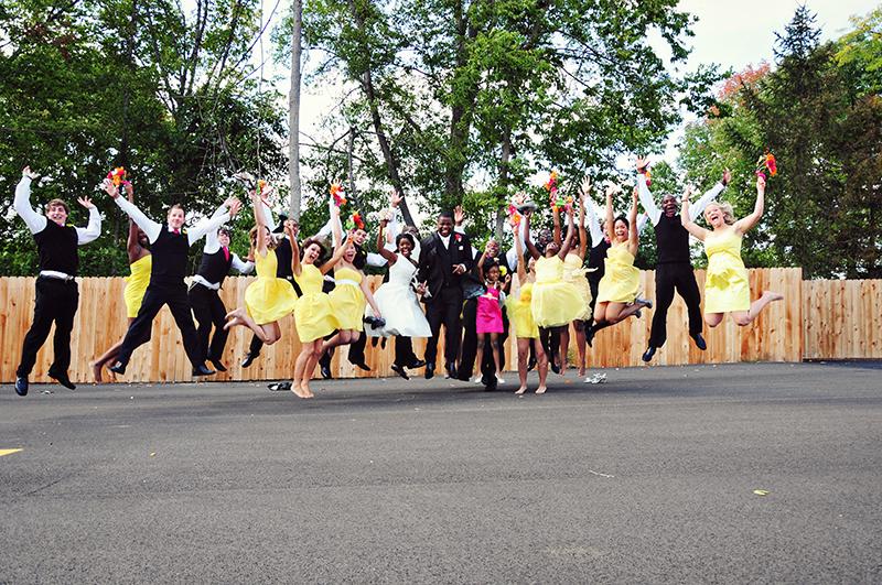 dayton bridal party jumping