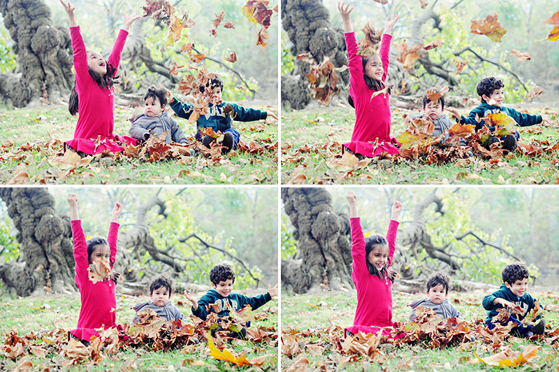 kids playing in leaves