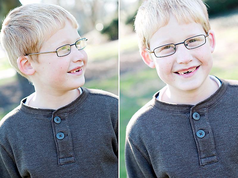 portrait of a little boy in glasses