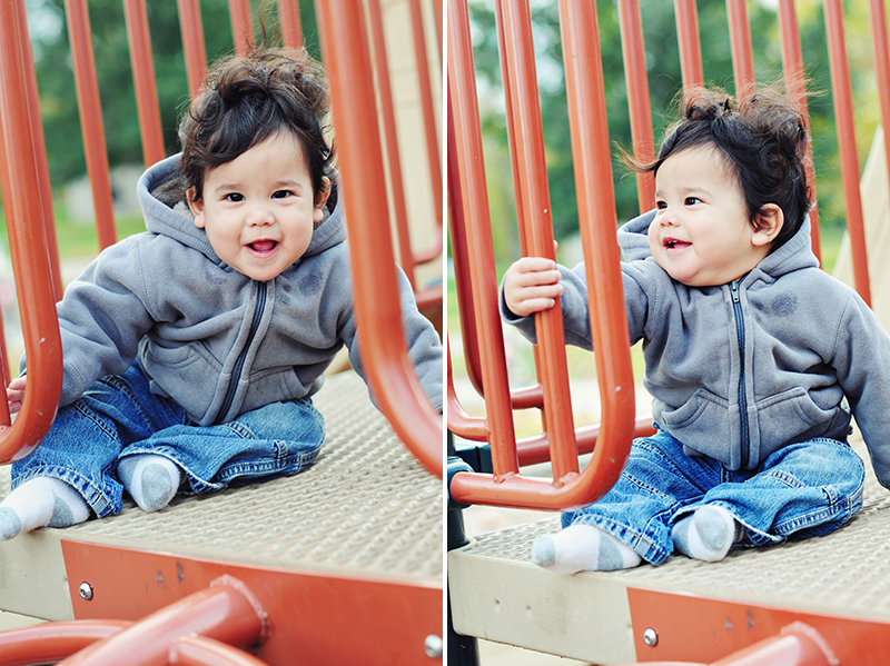 cute baby playing in a playground